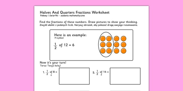 Halves and Quarters Fractions Worksheets Polish Translation - polish, fraction, numeracy