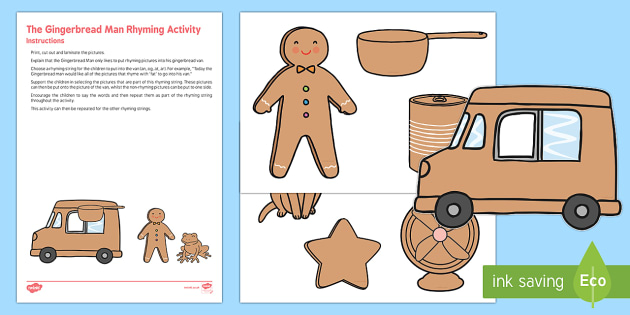 The Gingerbread Man Rhyming Activity Resource Pack - The Gingerbread Man, Traditional Tales, phonics, rhyme, aspect 4, gingerbread, rhyming