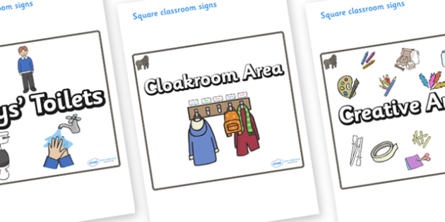Gorilla Themed Editable Square Classroom Area Signs (Plain) - Themed Classroom Area Signs, KS1, Banner, Foundation Stage Area Signs, Classroom labels, Area labels, Area Signs, Classroom Areas, Poster, Display, Areas