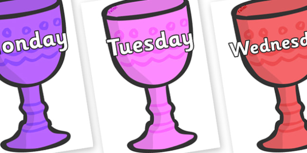 Days of the Week on Goblets - Days of the Week, Weeks poster, week, display, poster, frieze, Days, Day, Monday, Tuesday, Wednesday, Thursday, Friday, Saturday, Sunday