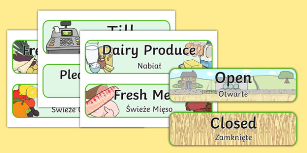 Farm Shop Signs Polish Translation - polish, Farm Shop Role Play, signs, farm shop resources, farm, milk, cheese, eggs, till, animals, meat, cheese, living things, butcher, role play, display, poster