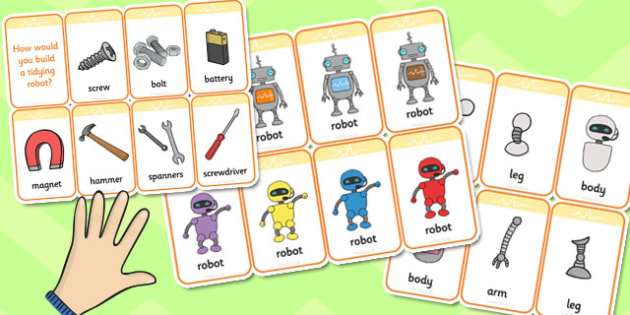 Robot Themed Flashcards - robot, flashcards, flash, cards, tidy
