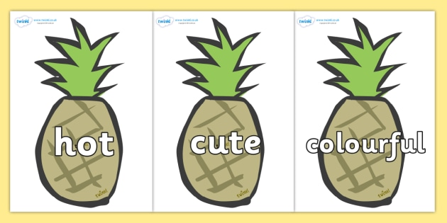 Wow Words on Pineapples - Wow words, adjectives, VCOP, describing, Wow, display, poster, wow display, tasty, scary, ugly, beautiful, colourful sharp, bouncy