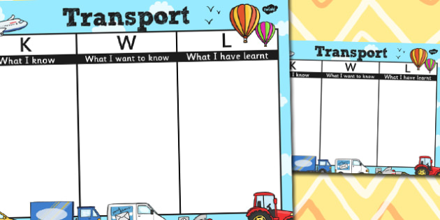 Transport Topic KWL Grid - transport, kwl grid, know, learn, want