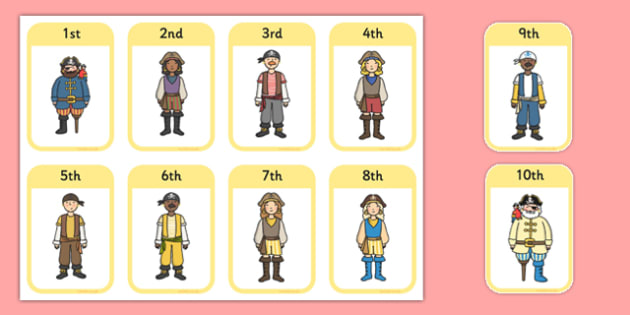 Ordinal Numbers Flashcards Pirates - order, maths