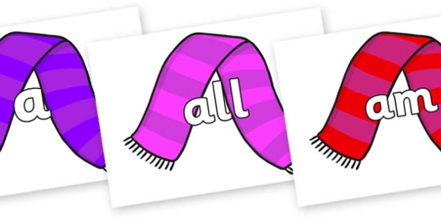 Foundation Stage 2 Keywords on Scarves - FS2, CLL, keywords, Communication language and literacy,  Display, Key words, high frequency words, foundation stage literacy, DfES Letters and Sounds, Letters and Sounds, spelling