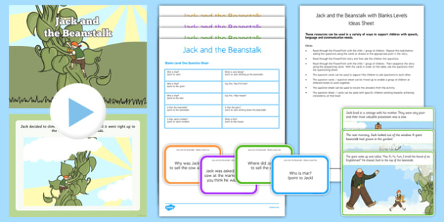 Jack and the Beanstalk with Blanks Level Questions - receptive language, expressive language, verbal reasoning, language delay, language disorder, comprehension, autism, Language for Thinking