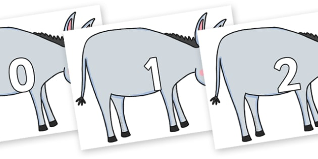 Numbers 0-100 on Hullabaloo Donkey to Support Teaching on Farmyard Hullabaloo - 0-100, foundation stage numeracy, Number recognition, Number flashcards, counting, number frieze, Display numbers, number posters