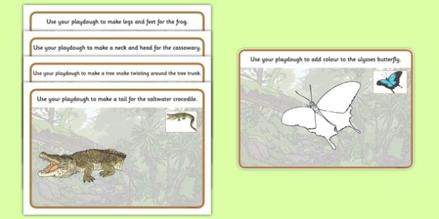 Australian Tropical Rainforest Animals Playdough Mats - australia, Science, Year 1, Habitats, Australian Curriculum, Tropical, Rainforest, Living, Living Adventure, Environment, Living Things, Animals, Body Parts, Playdough Mats