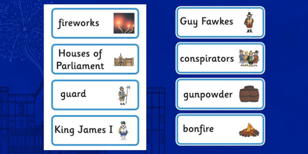The Gunpowder Plot Topic Word Cards - Story, Bonfire night, word card ...