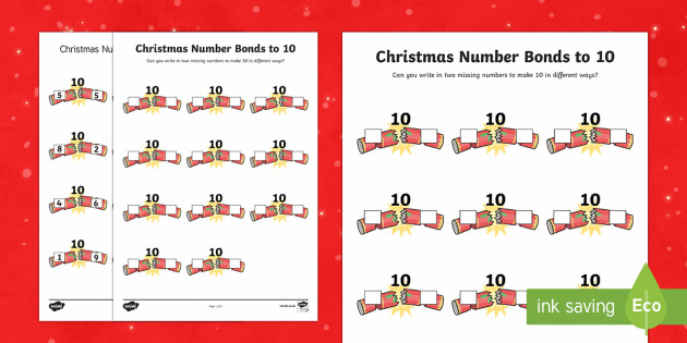 Christmas Themed Number Bonds to 10 Activity Sheet