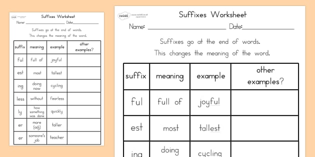 Suffixes Worksheet - suffixes, literacy, punctuation, worksheet