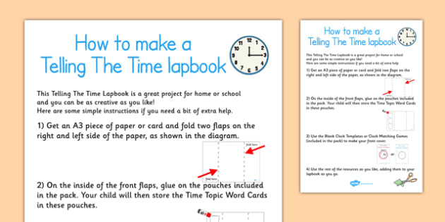 Telling The Time Lapbook Instructions - lapbooks, instructions