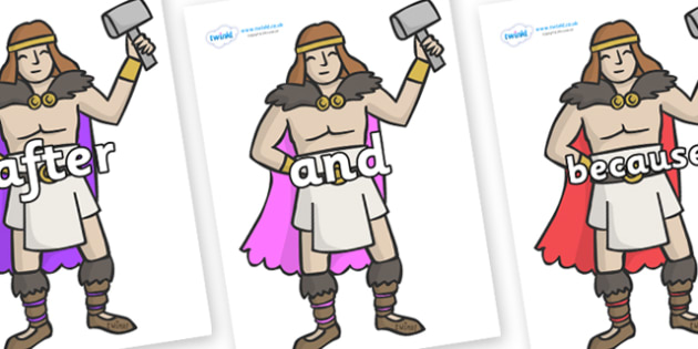 Connectives on Viking Warriors - Connectives, VCOP, connective resources, connectives display words, connective displays