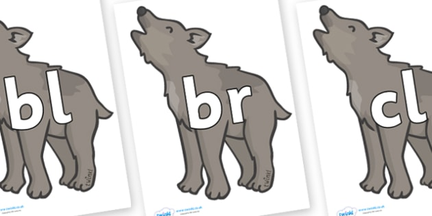 Initial Letter Blends on Wolf Cubs - Initial Letters, initial letter, letter blend, letter blends, consonant, consonants, digraph, trigraph, literacy, alphabet, letters, foundation stage literacy