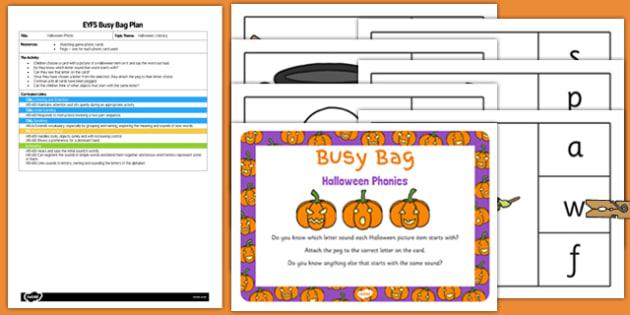 Halloween Phonics Busy Bag Plan and Resource Pack - halloween, phonics, busy bag