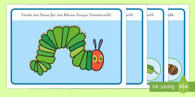 Knetunterlage für das Unterrichtsthema: Die Kleine Raupe Nimmersatt - Kleine Raupe Nimmersatt, Eric Carle, Kindergeschichten, Kinderliteratur, Knetunterlage,German