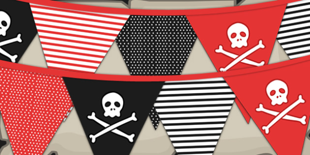 Pirate Themed Birthday Party Pattern Bunting - birthdays, parties