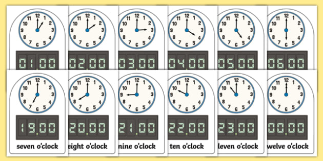 Time Image and Word for O'clock Digital and Analogue - cfe, curriculum for excellence, time, word, o'clock, digital, analogue