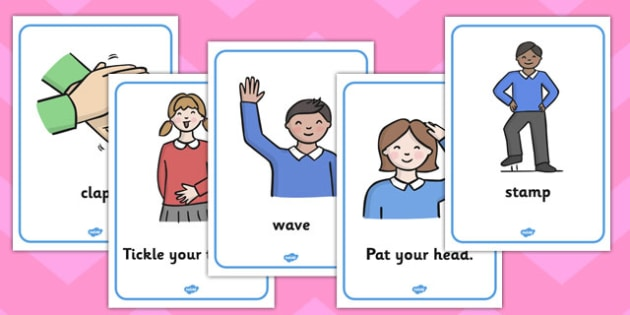 Body Actions Display Posters - my body, body, body action, poster, display, ourselves, all about me, emotions, feelings, shout, clap, listen, see