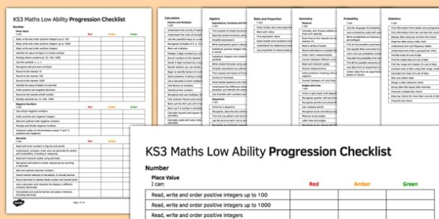 KS3 Maths Low Ability Progression Checklist - KS3, Maths, assessment, self assessment, RAG, new curriculum, SEN, MLD, low ability