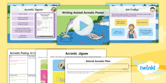 PlanIt Y1 Animals: to Support Teaching on Dear Zoo Lesson Pack Poetry (2) - Dear Zoo, animals, stories, repeating parts, poetry, poem, acrostic, performance, audience