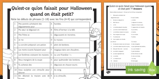Halloween Imperfect Tense Match Up Activity Sheet, worksheet