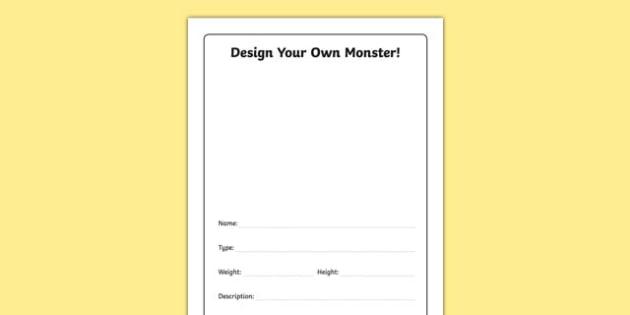 Design Your Own Monster Activity Sheet, worksheet