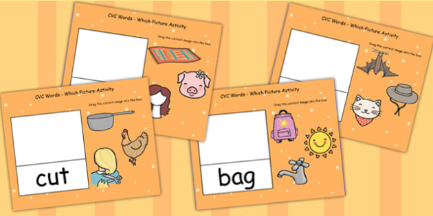 CVC Words Which Picture Activity For IWB - CVC words, IWB, CVC