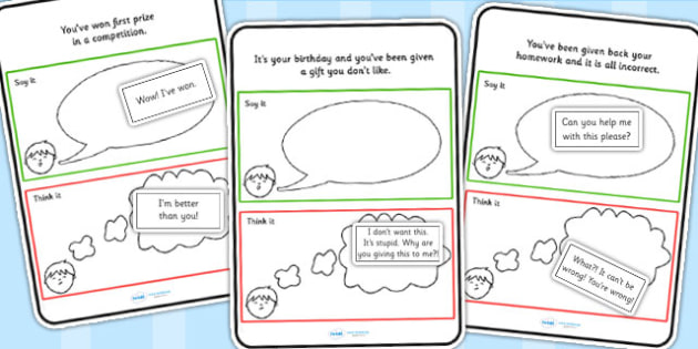 Think It Or Say It Sorting Scenario Card Activity - support cards