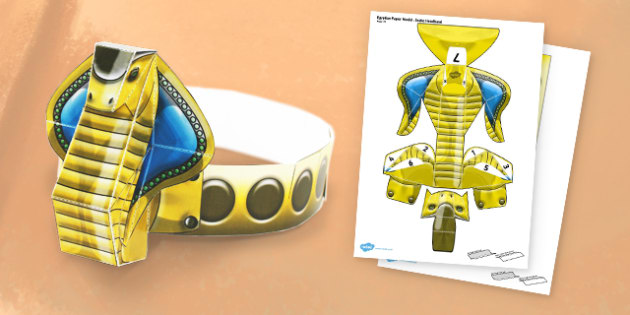 Egyptian Snake Head band - egypt, snake, headband, paper, craft