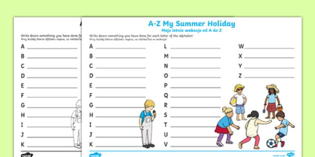 A-Z My Summer Holiday Writing Frame Polish Translation-Polish-translation