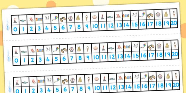 Seaside Number Track 0-20 - seaside, numbers, number track, 1-20