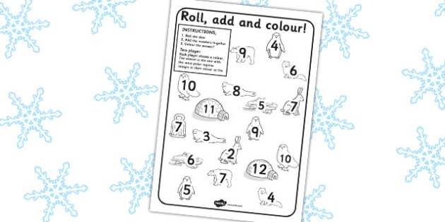 Polar Regions Roll and Colour Activity Sheet - worksheets, colours