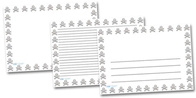 Skull and Cross Bones Landscape Page Borders- Landscape Page Borders - Page border, border, writing template, writing aid, writing frame, a4 border, template, templates, landscape