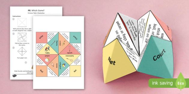 KS2 PE Games Fortune Teller Chatterbox