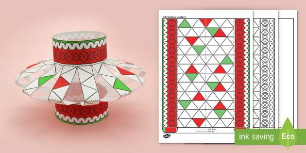 3D Christmas Lantern Activity Paper Craft - christmas, lantern, origami, decoration