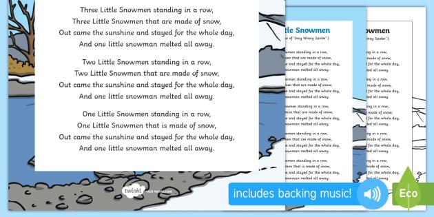 5 Little Snowmen Rhyme Sheet - 5 little snowmen, rhyme, sheet, 5, little, snowmen