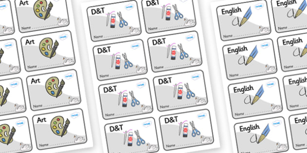Swan Themed Editable Book Labels - Themed Book label, label, subject labels, exercise book, workbook labels, textbook labels