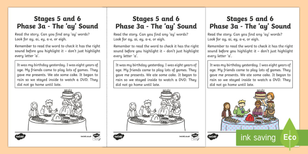 Linguistic Phonics Stage 5 and 6 Phase 3a, 'ay' Sound Activity Sheet