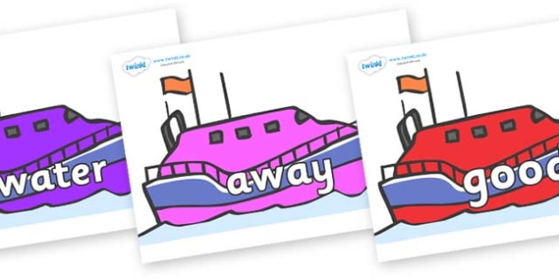Next 200 Common Words on Lifeboats - Next 200 Common Words on  - DfES Letters and Sounds, Letters and Sounds, Letters and sounds words, Common words, 200 common words
