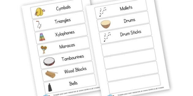 Music Labels - Listening & Music Area Primary Resources, signs, area, zones