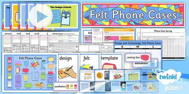 PlanIt - DT UKS2 - Felt Phone Cases Unit Pack - planit, dt, unit, pack