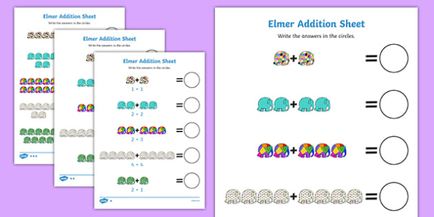 Addition Sheet to Support Teaching on Elmer - Elmer, addition sheet, addition, addition worksheet, elmer worksheet, elmer addition sheet, elmer sheets