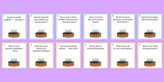 General Conversation Question Pair Cards Customs and Festivals - french, Conversation, Speaking, Questions, Customs, Festivals, Traditions, Fêtes, Coutumes, Noël, Pâques, Christmas, Easter, Anniversaire, Birthday, Cards, Cartes