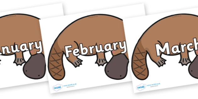 Months of the Year on Platypus - Months of the Year, Months poster, Months display, display, poster, frieze, Months, month, January, February, March, April, May, June, July, August, September
