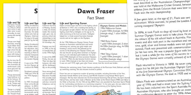 Australian Olympic Athletes Fact Sheet Pack - Australia, Olympic Games, Olympics, Paralympics, Athletes, Information, Fact Sheet, Reading Comprehension, Year 6 History