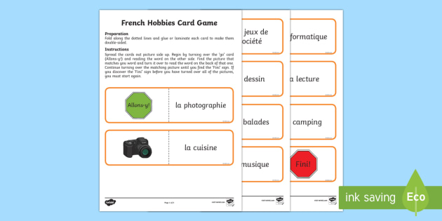 favourite hobbies card game english french french games. Black Bedroom Furniture Sets. Home Design Ideas