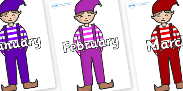 Months of the Year on Elf (Boy) - Months of the Year, Months poster, Months display, display, poster, frieze, Months, month, January, February, March, April, May, June, July, August, September