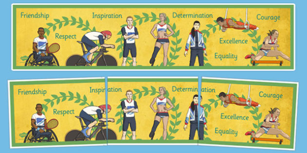 Olympics and Paralympics Values Display Banner - olympics, rio, 2016, value, values, behaviour, aspiration, games, summer, display, banner, heading